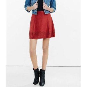 Express Rust Faux Suede Laser Cut Hem Mini Skirt